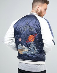 Asos Bomber Jacket With Space Odyssey Embroidery Blue
