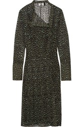 Topshop Unique Rosalind Leopard Print Silk Georgette Dress Forest Green