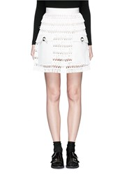 Toga Archives Faux Leather Pocket Linen Fringe Mini Skirt White