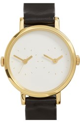 Steven Alan Women's 'Time Traveler' Round Leather Strap Watch 30Mm Black White