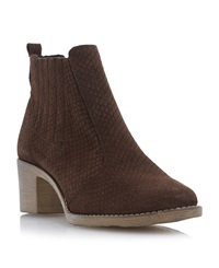 Episode Prichard Printed Suede Ankle Boots Brown
