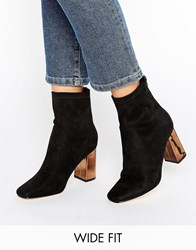 Truffle Collection Wide Fit Ankle Boot Black Mf Copper Heel