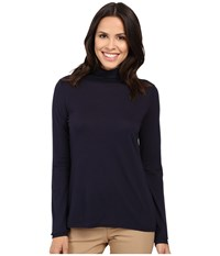 Pendleton Long Sleeve Mock Neck Tee Midnight Navy Women's T Shirt Blue