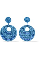 Kenneth Jay Lane Silver Tone Bead Earrings Blue