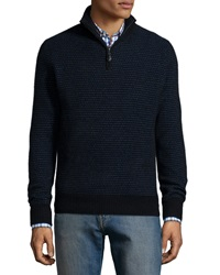 Neiman Marcus Textured Half Zip Cashmere Sweater Black