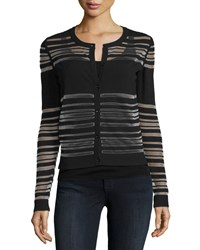 Milly Invisible Striped Button Front Cardigan Black