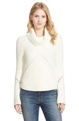 Petite Women's Halogen Turtleneck Sweater With Open Stitch Detail Ivory Cloud