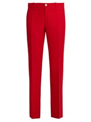 Gucci Mid Rise Kick Flare Wool And Silk Blend Trousers Red