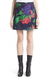 Msgm Women's Floral Knit Wool Blend Wrap Skirt Blue White Roses Print