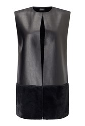 James Lakeland Gilet With Faux Fur Black