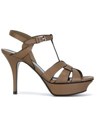 Saint Laurent Platform Sandals Brown