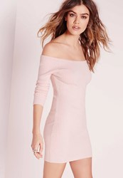Missguided Off Shoulder Knitted Ribbed Dress Pink Mauve