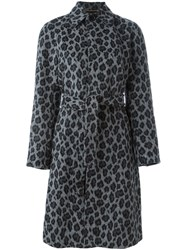 Saint Laurent Belted Leopard Print Coat Grey