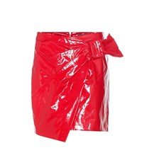 Isabel Marant Anders Coated Cotton Wrap Skirt Red
