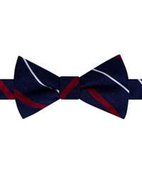 Tommy Hilfiger Men's Thin Stripe Pre Tied Bow Tie Deep Red