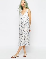 Asos Dungaree Style Midi Slip Dress In Digital Floral Print Multi