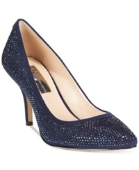 Inc International Concepts Zitah Pointed Toe Rhinestone Evening Pumps Women's Shoes Eclipse Blue