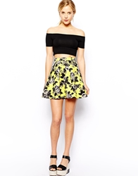 Asos Skater Skirt In Quilted Floral Print Yellow