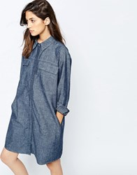 Asos Oversized Shirt Dress In Textured Denim Mid Stonewash Blue