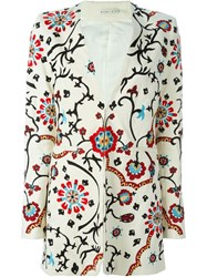 Alice Olivia Alice Olivia 'Chriselle' Embroidered Long Single Breasted Blazer White