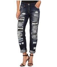 Philipp Plein Dark Wash Boyfriend Cut Distressed Denim In Dark Blue Dark Blue Women's Jeans
