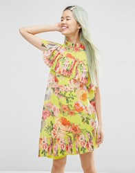 Asos Pleated Shift Dress In Bright Acid Floral Yellow