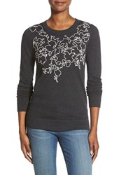Petite Women's Halogen Embroidered Crewneck Sweater Grey Pink Floral Pattern