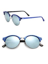 Ray Ban 51Mm Club Round Mirrored Sunglasses Blue