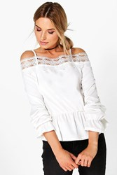 Boohoo Crochet Trim Cold Shoulder Top Ivory