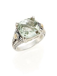Effy Green Amethyst Sterling Silver And 18K Yellow Gold Square Ring