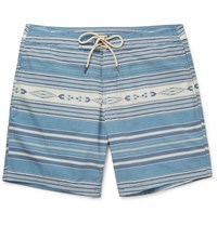 Faherty Mid Length Striped Swim Shorts Blue