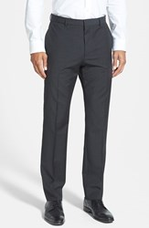 Men's Hugo 'Hamen' Flat Front Wool Trousers Dark Grey