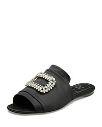 Roger Vivier Tiffany Strass Buckle Satin Slide Sandal Black