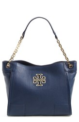 Tory Burch 'Small Britten' Leather Slouchy Tote Blue Hudson Bay