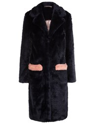 Shrimps Leopard Faux Fur Claude Coat Navy