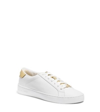 Michael Kors Irving Leather Sneaker White Pale Gold
