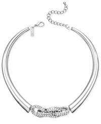 Inc International Concepts Crystal Link Collar Necklace Silver