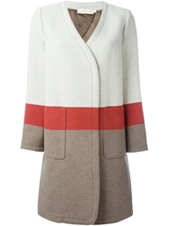 Tory Burch Colour Block Coat Nude And Neutrals