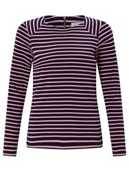 John Lewis Collection Weekend By Zip Back Panel Breton T Shirt Navy Pink