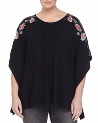 Jwla Lorena Embroidered Pintuck Poncho Black
