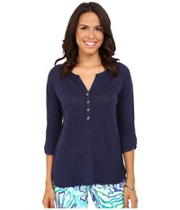 Lilly Pulitzer Egret Top True Navy Women's Clothing