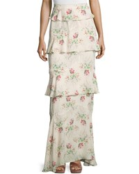 Vilshenko Tiered Flower Cloud Print Maxi Skirt Cream Multi Cream Multi