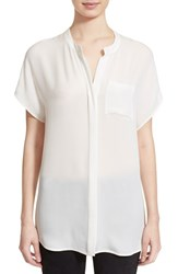 Women's Vince Cap Sleeve Silk Shirt Off White