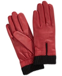 Charter Club Leather Gloves With Knit Cuff Gloves Port Red Black