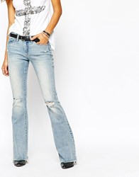 Blank Nyc Flared Jeans With Raw Hem And Distressing Blue