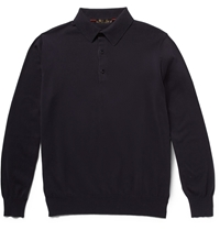 Loro Piana Long Sleeved Cotton Polo Shirt Blue