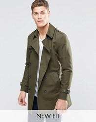 Asos Shower Resistant Double Breasted Trench Coat Khaki Green