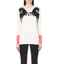 Stella Mccartney Horse Intarsia Wool And Silk Blend Jumper Ivory
