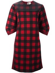 Nude Checked Dress Red