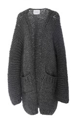 I Love Mr. Mittens Long Slouch Cardigan Dark Grey